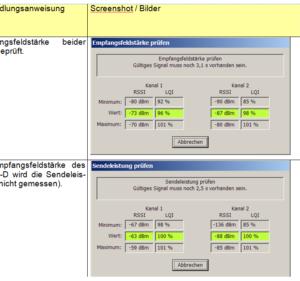 Beispiel für das Ergebnis eines Testsystems